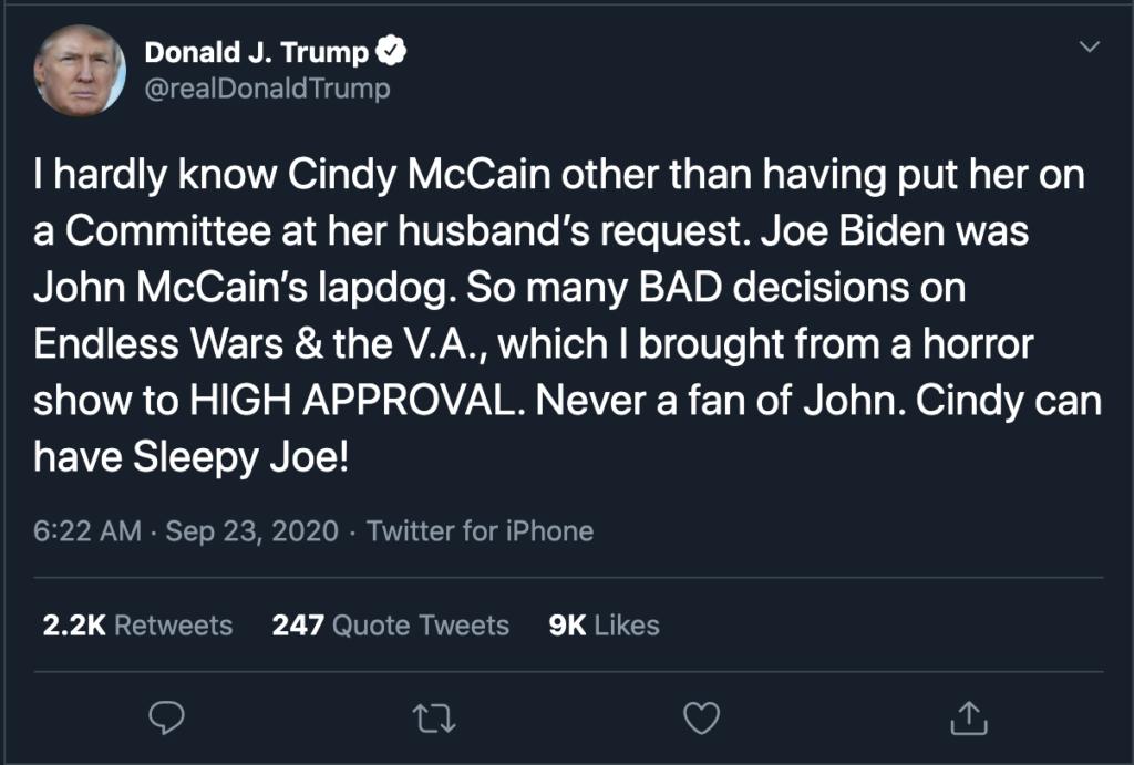 McCain Endorses Biden, Trump No Likey